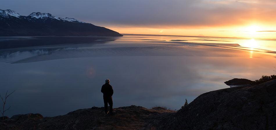 Hiking Chugach Waterside Sunset